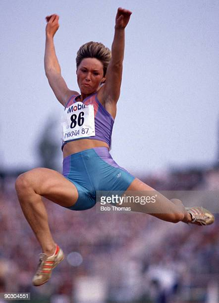 Kim Hagger of Great Britain in the women's long jump at an IAAF Grand Prix athletics meeting held in Nice France in July 1987