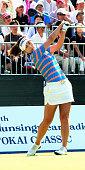 Kim HaNeul of South Korea hits a tee shot during the final round of the Munsingwear Ladies Tokai Classic at the Shin Minami Aichi Country Club Mihama...