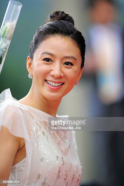 Kim HeeAe poses for photographs during the 9th Seoul International Drama Awards at National Theater of Korea on September 4 2014 in Seoul South Korea