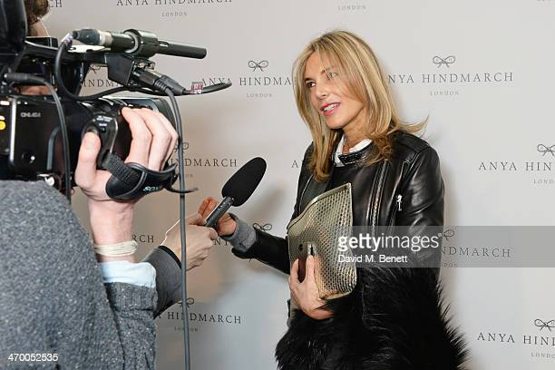 Kim Hersov gives an interview following the Anya Hindmarch AW14 show at The Old Billingsgate on February 18 2014 in London England