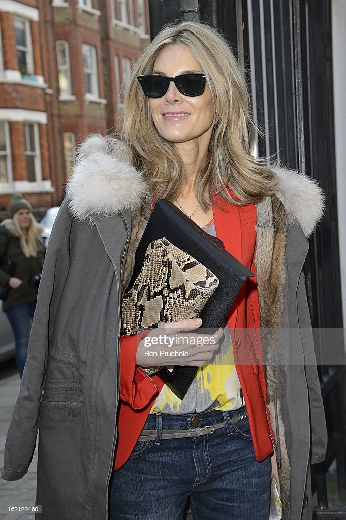 Kim Hersov is pictured arriving at the Anya Hindmarch catwalk show during London Fashion Week on February 19, 2013 in London, England.