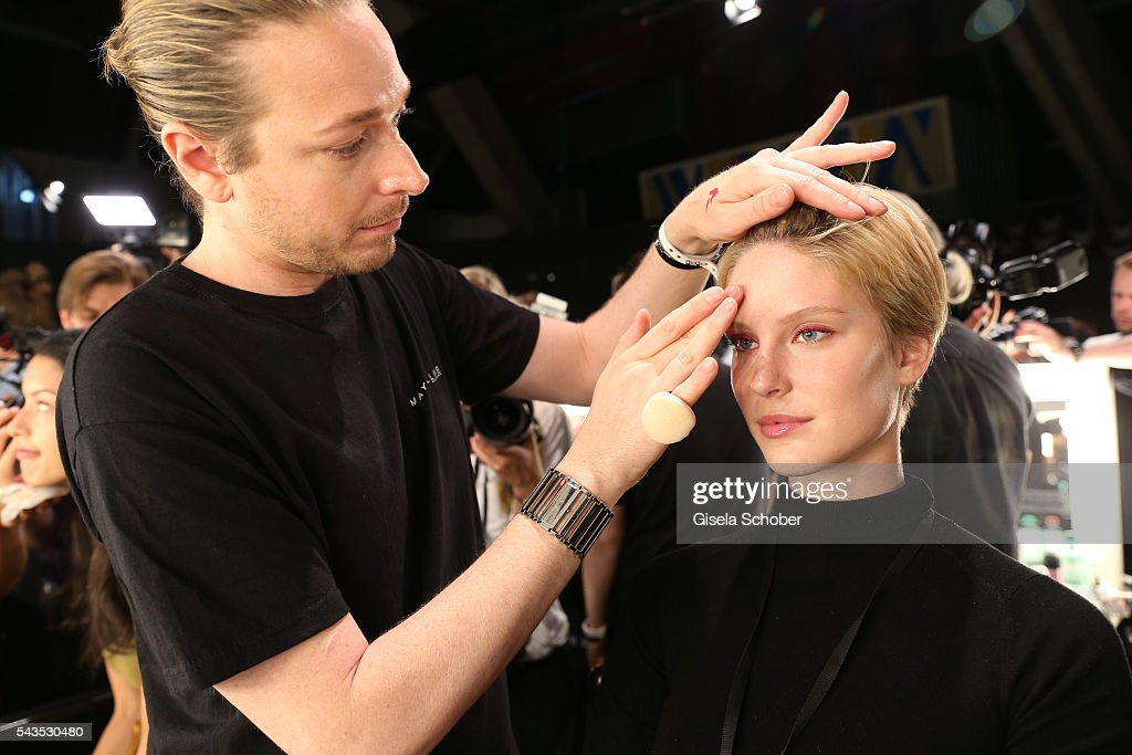 Kim Hnidzo is seen backstage ahead of the Minx by Eva Lutz show during the Mercedes-Benz Fashion Week Berlin Spring/Summer 2017 at Erika Hess Eisstadion on June 29, 2016 in Berlin, Germany.