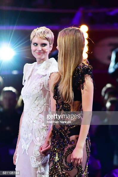 Kim Hnizdo and Elena Carriere during the finals of 'Germany's Next Topmodel' at Coliseo Balear on May 12 2016 in Palma de Mallorca Spain