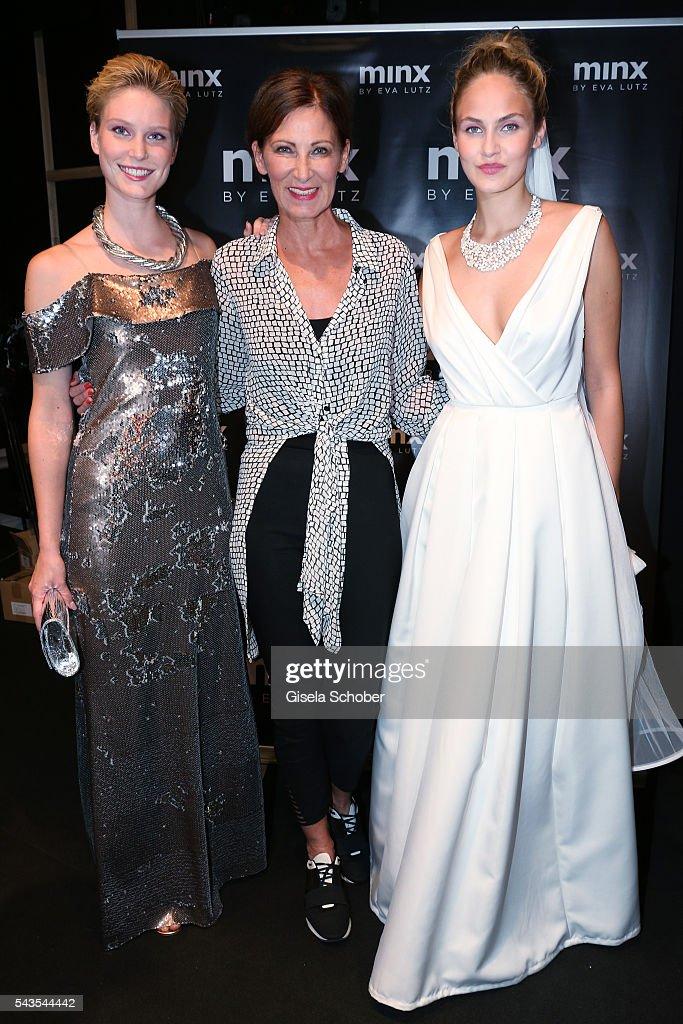 Kim Hnizdo designer Eva Lutz and Elena Carriere attend the Minx by Eva Lutz show during the MercedesBenz Fashion Week Berlin Spring/Summer 2017 at...