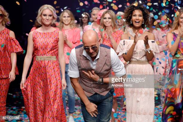 Kim Hnizdo designer Thomas Rath and Marie Amiere acknowledge the applause of the audience after the Thomas Rath show during Platform Fashion July...