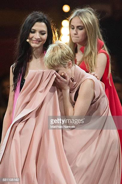 Kim Hnizdo Fata Hasanovic and Elena Carriere during the finals of 'Germany's Next Topmodel' at Coliseo Balear on May 12 2016 in Palma de Mallorca...