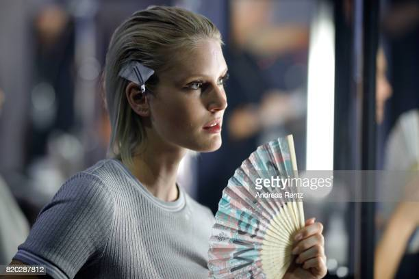 Kim Hnizdo is seen backstage ahead of the Breuninger show during Platform Fashion July 2017 at Areal Boehler on July 21 2017 in Duesseldorf Germany