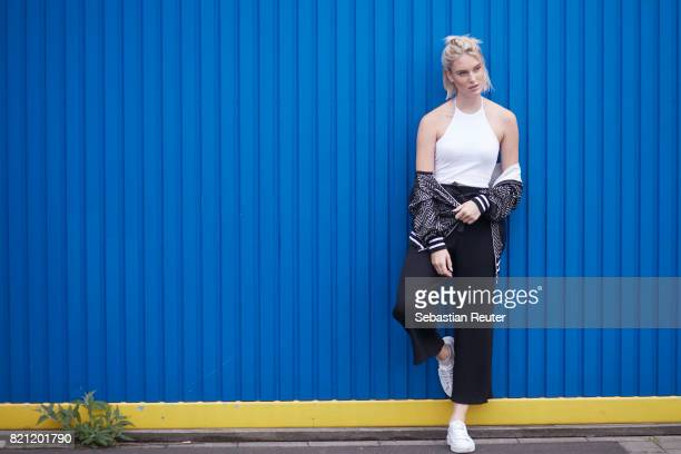 Kim Hnizdo poses for portraits during Platform Fashion July 2017 at Areal Boehler on July 23 2017 in Duesseldorf Germany
