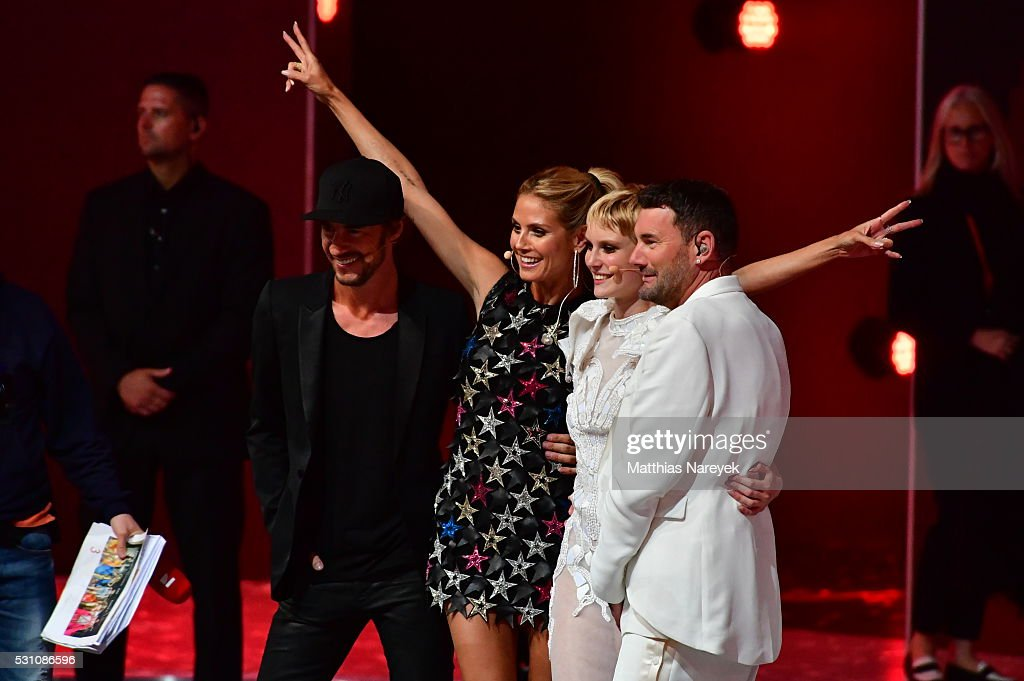Kim Hnizdo, Thomas Hayo, Heidi Klum and Michael Michalsky celebrates being Germany's next topmodel during the finals of 'Germany's Next Topmodel' at Coliseo Balear on May 12, 2016 in Palma de Mallorca, Spain.