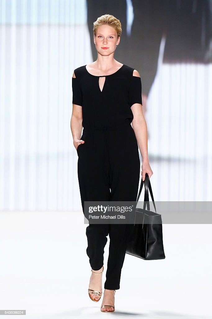 Kim Hnizdo walks the runway at the Minx by Eva Lutz show during the Mercedes-Benz Fashion Week Berlin Spring/Summer 2017 at Erika Hess Eisstadion on June 29, 2016 in Berlin, Germany.