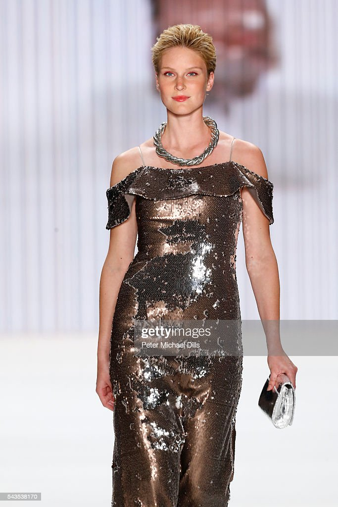Kim Hnizdo walks the runway at the Minx by Eva Lutz show during the Mercedes-Benz Fashion Week Berlin Spring/Summer 2017 at Erika Hess Eisstadion on June 29, 2016 in Berlin, Germany.