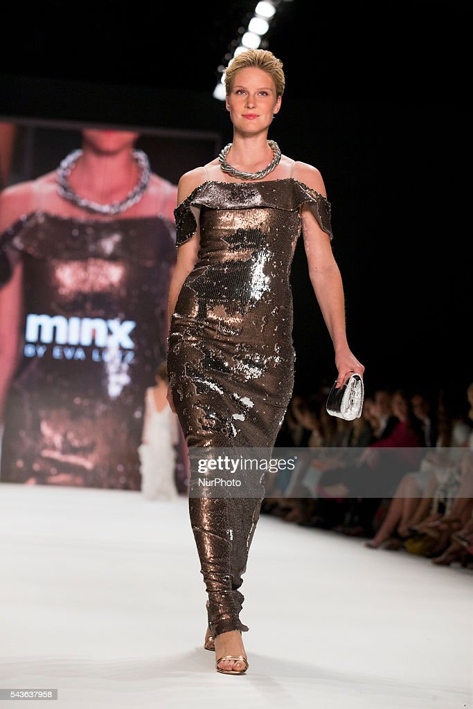 Kim Hnizdo walks the runway at the Minx by Eva Lutz show during the Mercedes-Benz Fashion Week Berlin Spring / Summer 2017 at Erika Hess Eisstadion in Berlin, Germany on June 29, 2016.