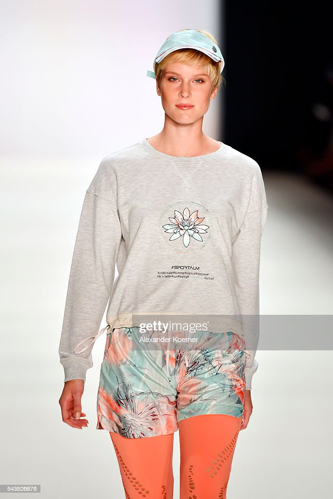 Kim Hnizdo walks the runway at the Sportalm show during the Mercedes-Benz Fashion Week Berlin Spring/Summer 2017 at Erika Hess Eisstadion on June 29, 2016 in Berlin, Germany.
