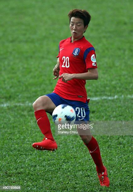 Kim Hye Ri of Korea Republic controls the ball during the AFC Women's Asian Cup Group B match between Korea Republic and Myanmar at Thong Nhat...