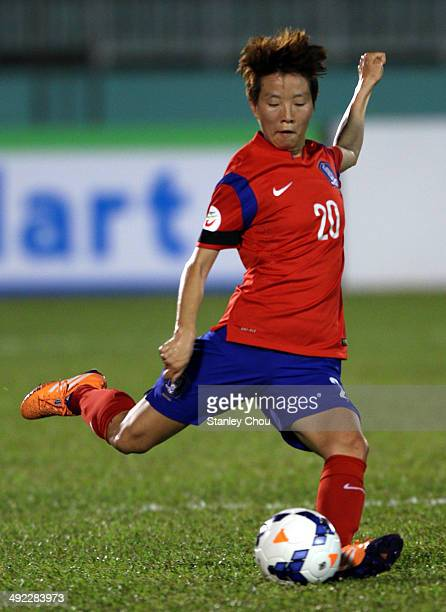 Kim Hye Ri of Korea Republic in action during the AFC Women's Asian Cup Group B match between Korea Republic and China at Thong Nhat Stadium on May...