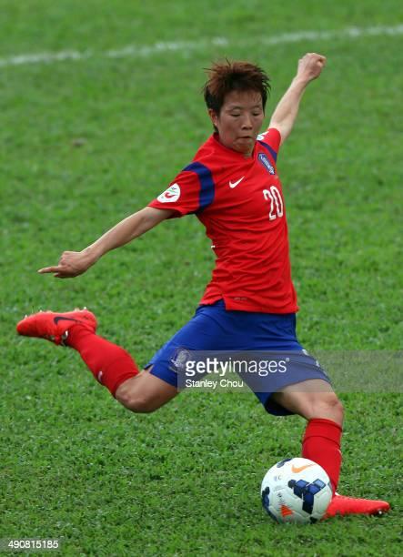 Kim Hye Ri of Korea Republic kicks the ball during the AFC Women's Asian Cup Group B match between Korea Republic and Myanmar at Thong Nhat Stadium...