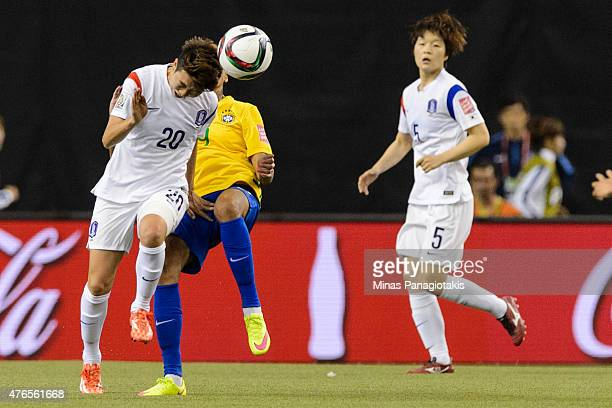 Kim Hyeri of Korea Republic gives a header to the ball during the 2015 FIFA Women's World Cup Group E match against Brazil at Olympic Stadium on June...