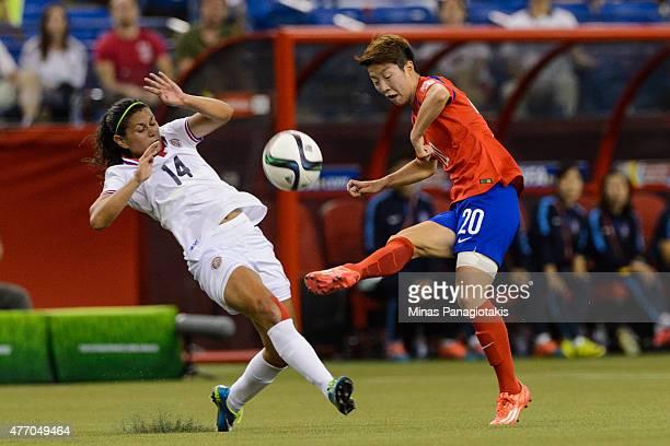 Kim Hyeri of Korea Republic kicks the ball near Maria Barrantes of Costa Rica during the 2015 FIFA Women's World Cup Group E match at Olympic Stadium...