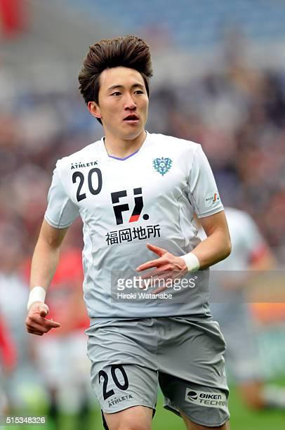Kim Hyun Hun of Avispa Fukuoka in action during the JLeague match between Urawa Red Diamonds and Avispa Fukuoka at the Saitama Stadium on March 12...