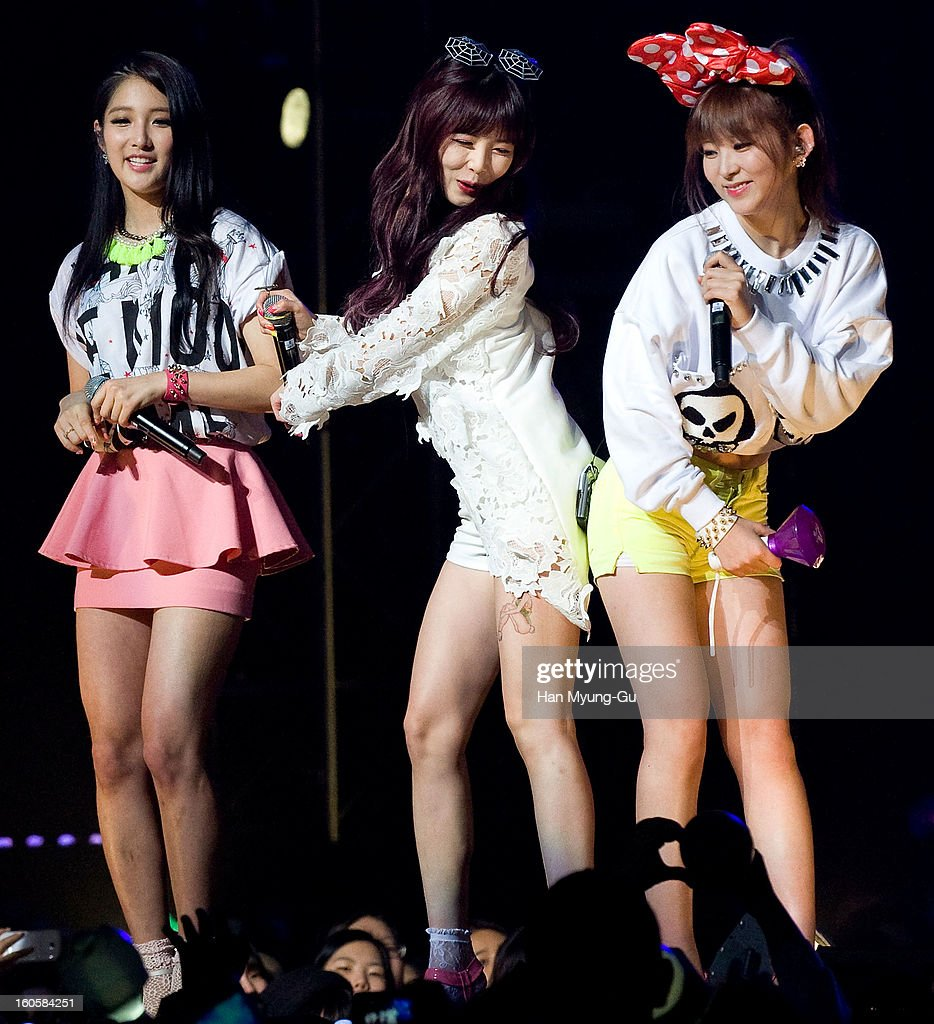 Kim Hyun-A (Hyuna) and Kwon So-Hyun of South Korean girl group 4minute perform onstage during the 2013 United Cube Concert at Jamsil Stadium on February 2, 2013 in Seoul, South Korea.