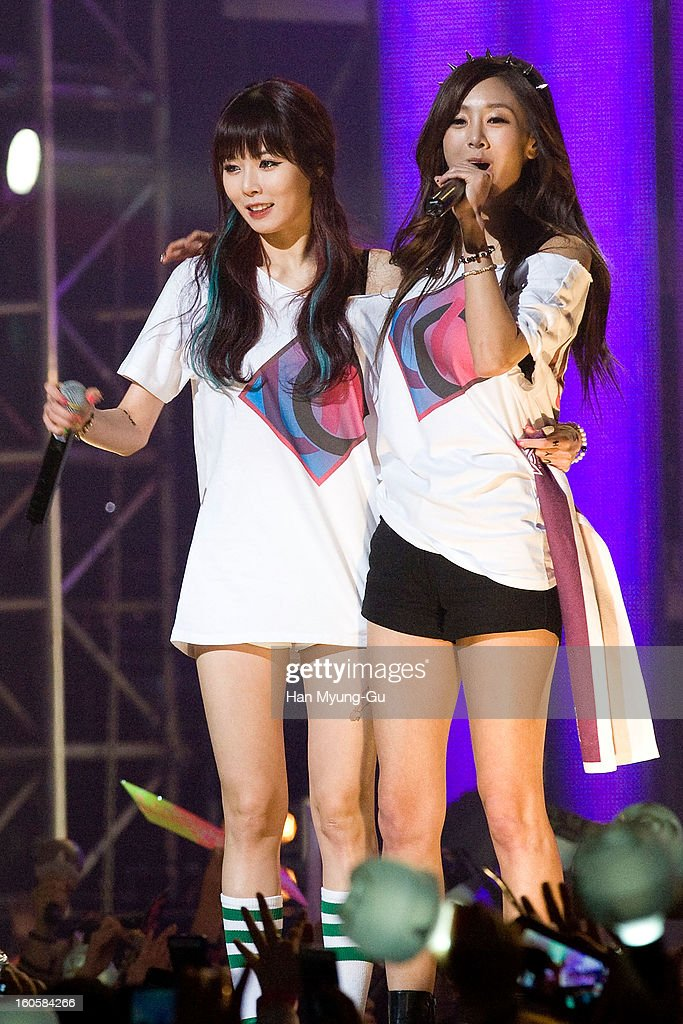 Kim Hyun-A (Hyuna) of South Korean girl group 4minute and G.NA perform onstage during the 2013 United Cube Concert at Jamsil Stadium on February 2, 2013 in Seoul, South Korea.
