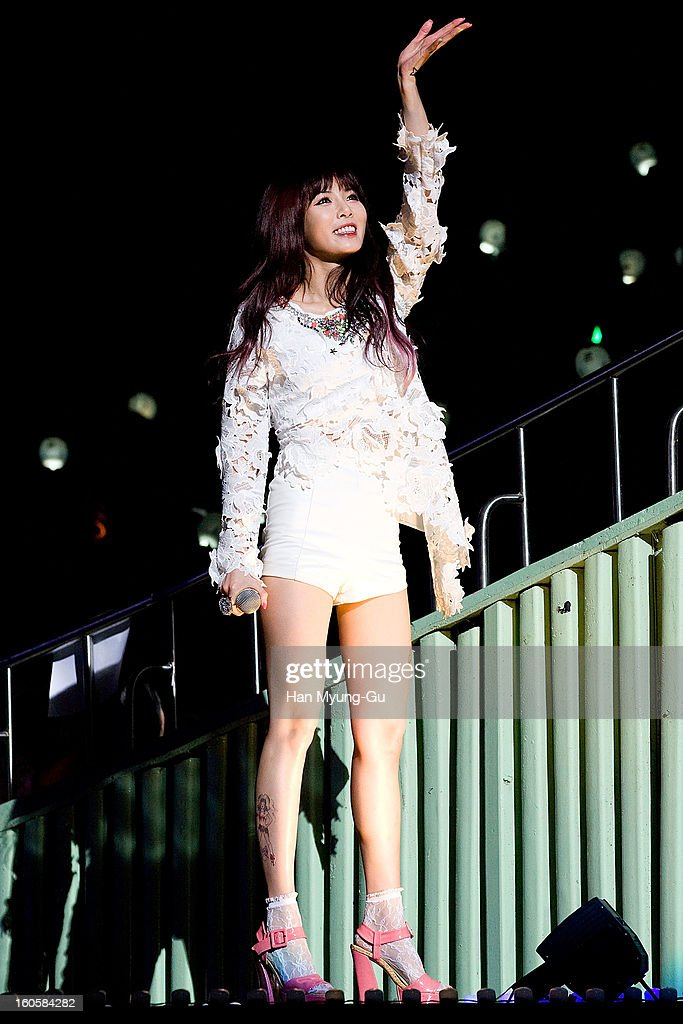 Kim Hyun-A (Hyuna) of South Korean girl group 4minute performs onstage during the 2013 United Cube Concert at Jamsil Stadium on February 2, 2013 in Seoul, South Korea.