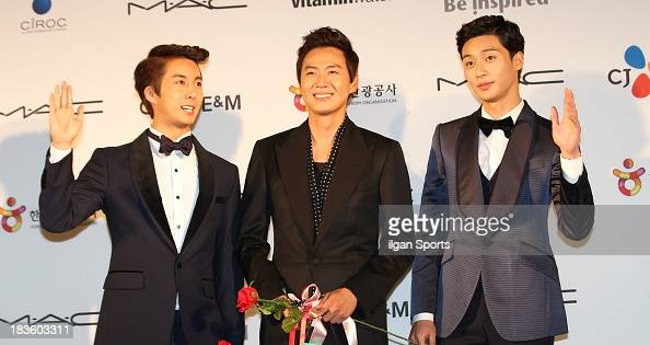Kim HyungJun Yeon JungHoon and Park SeoJun arrive for APAN Star Road during the 18th Busan International Film Festival at the Haeundae Beach BIFF...