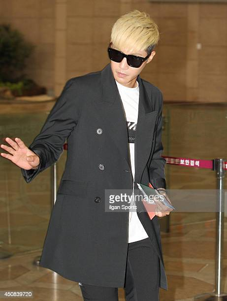 Kim HyunJoong is seen at Gimpo International Airport on June 17 2014 in Seoul South Korea