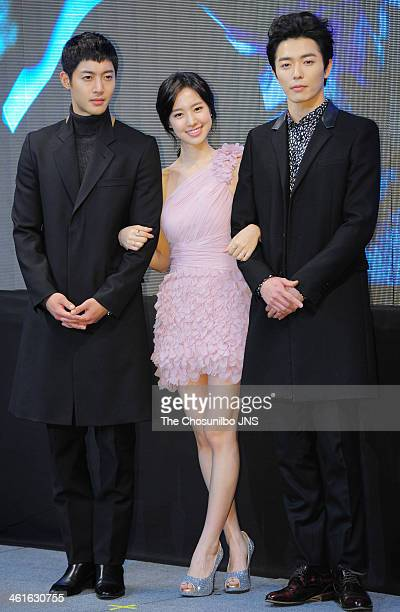 Kim HyunJoong Jin SeYeon and Kim JaeWook pose for photographs during the KBS 2TV drama 'Generation of Youth' press conference at Imperial Palace on...