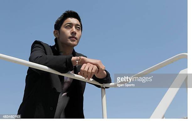 Kim HyunJoong poses for photographs on April 4 2014 in Seoul South Korea