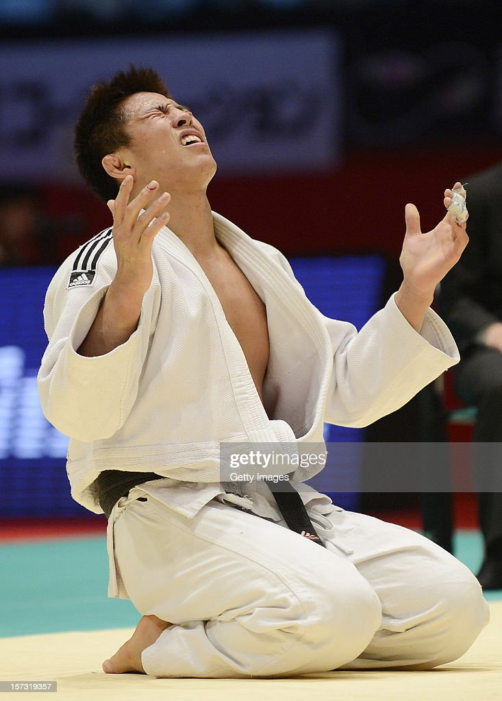 Kim Jae-Bum of South Korea celebrates winning the Men's 81kg during day two of the Judo Grand Slamat Yoyogi Gymnasium on December 1, 2012 in Tokyo, Japan.