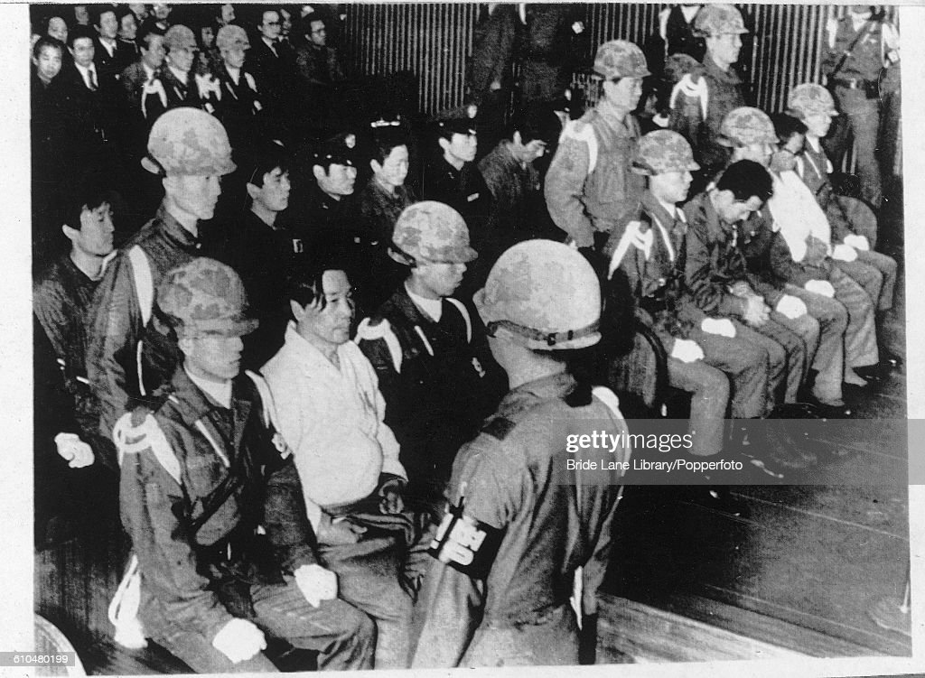 Kim Jaegyu former director of the KCIA stands trial with seven others at a military court in Seoul South Korea 8th December 1979 They are accused of...