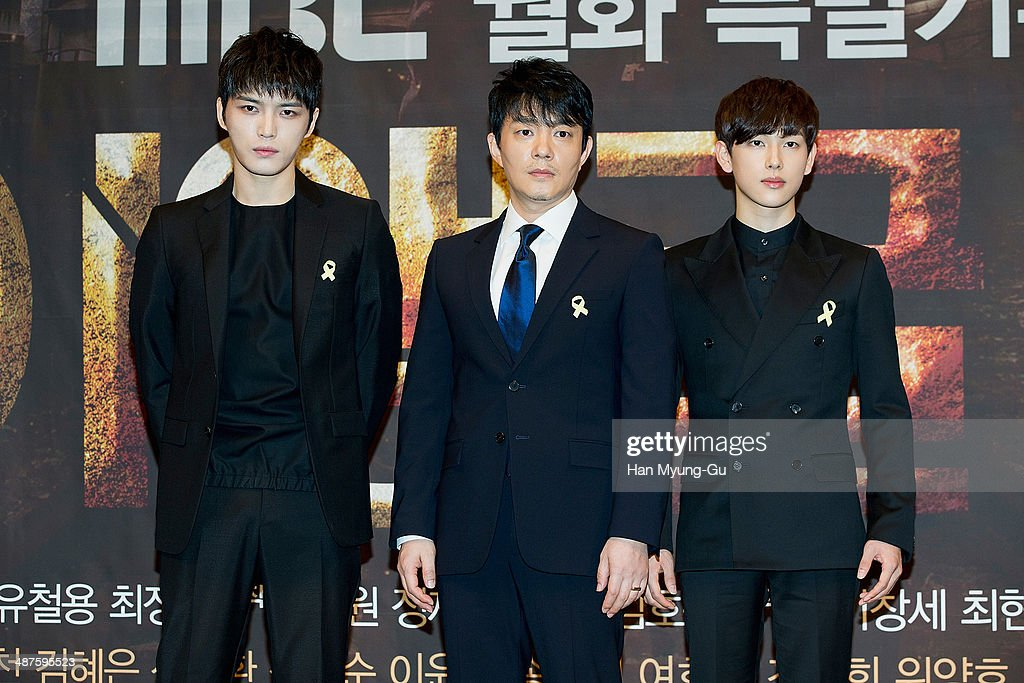 Kim Jae-Joong of South Korean boy band JYJ, actor <a gi-track='captionPersonalityLinkClicked' href=/galleries/search?phrase=Lee+Bum-Soo&family=editorial&specificpeople=4324152 ng-click='$event.stopPropagation()'>Lee Bum-Soo</a> and Yim Si-Wan of South Korean boy band