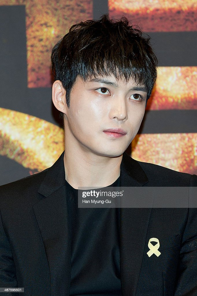 Kim Jae-Joong of South Korean boy band JYJ attends MBC Drama 'Triangle' press conference at the Imperial Palace Hotel on April 30, 2014 in Seoul, South Korea. The drama will open on May 05, in South Korea.