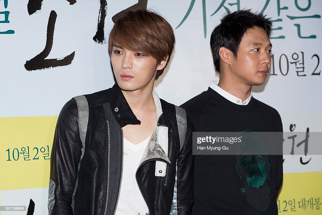 Kim Jae-Joong of South Korean boy band JYJ attends 'Wish' VIP screening at Lotte Cinema on September 23, 2013 in Seoul, South Korea. The film will open on October 02, in South Korea.