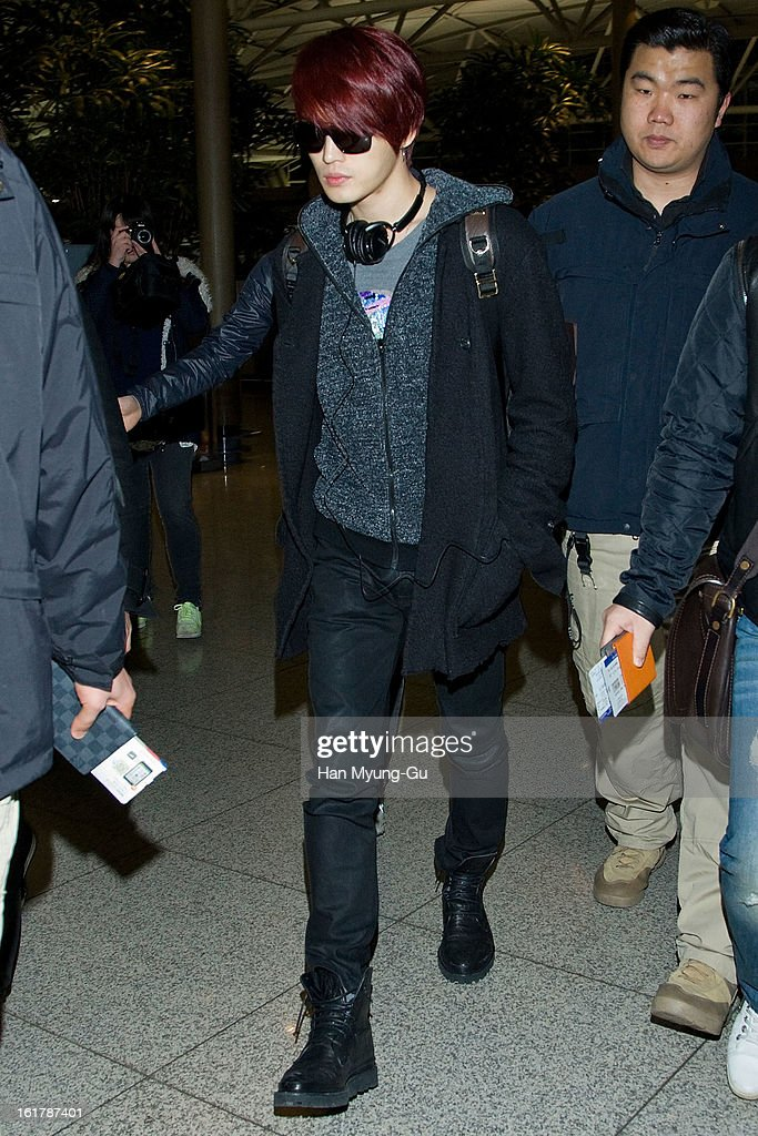 Kim Jae-Joong of South Korean boy band JYJ is seen at Incheon International Airport on February 15, 2013 in Incheon, South Korea.