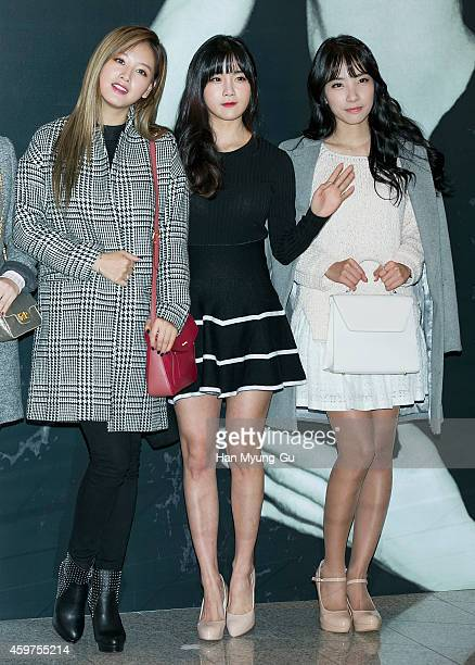 Kim JaeKyung Cho HyunYoung and Kim JiSook of South Korean girl group Rainbow attend the Audrey Hepburn Exhibition 'Beauty Beyond Beauty' at DDP on...