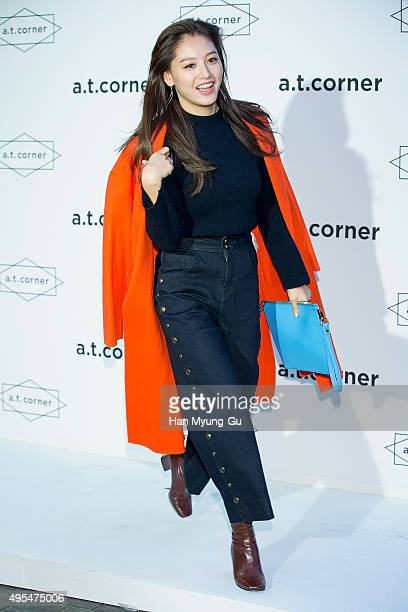Kim JaeKyung of South Korean girl group Rainbow attends the photocall for Yoon Ju x at Corner on October 30 2015 in Seoul South Korea