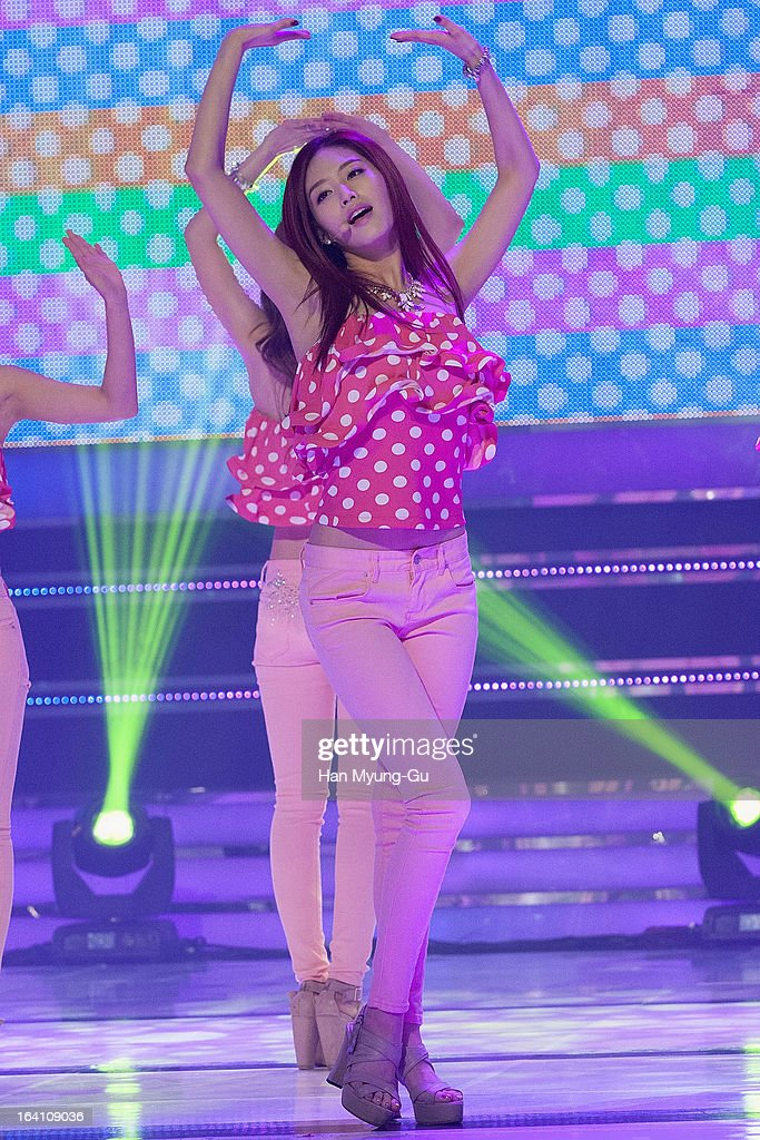 Kim Jae-Kyung of South Korean girl group Rainbow performs onstage during the MBC Music 'Show Champion' at Uniqlo-AX Hall on March 20, 2013 in Seoul, South Korea.