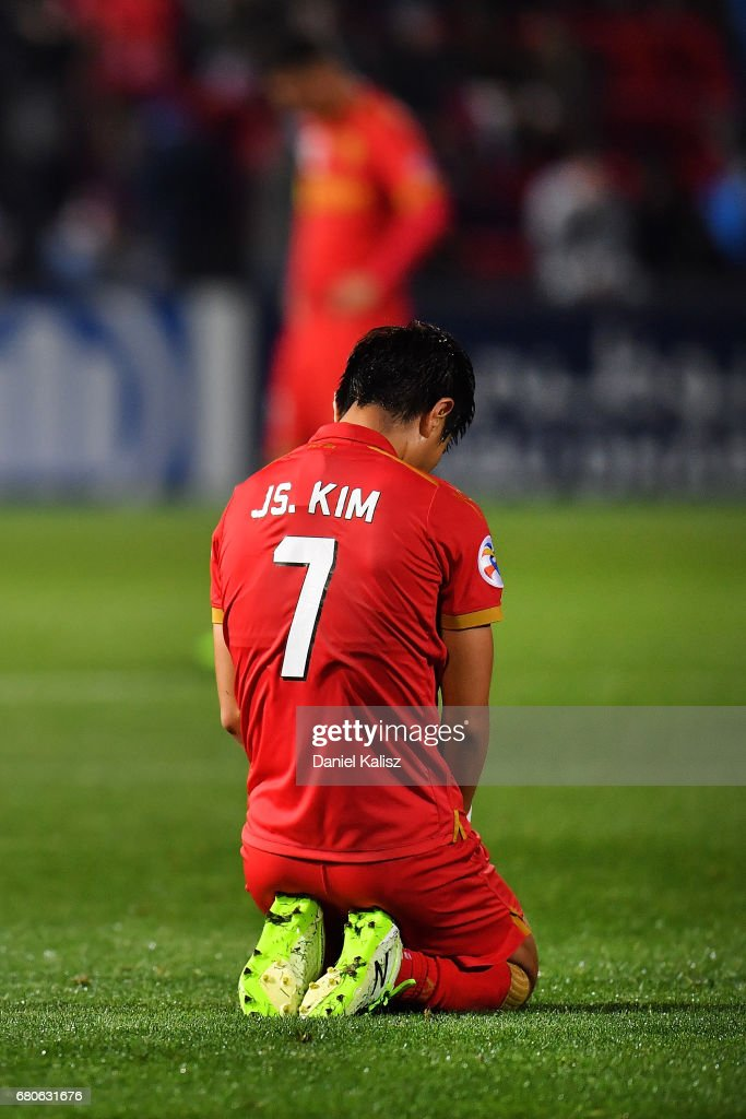 Kim Jae-Sung of United reacts after the final whistle during the AFC Champions League match between Adelaide United and Jiangsu Sainty at Hindmarsh Stadium on May 9, 2017 in Adelaide, Australia.