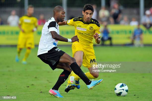 Kim Jaggy of FC Aarau and Gonzalo Zarate of BSC Young Boys in action during the Swiss Super League match between FC Aarau v BSC Young Boys at...