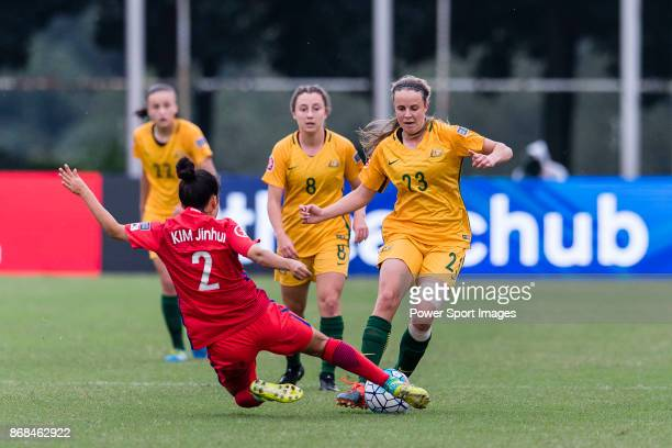 Kim Jin Hui of South Korea trips up with Emily Condon of Australia during their AFC U19 Women's Championship 2017 Group Stage B match between South...