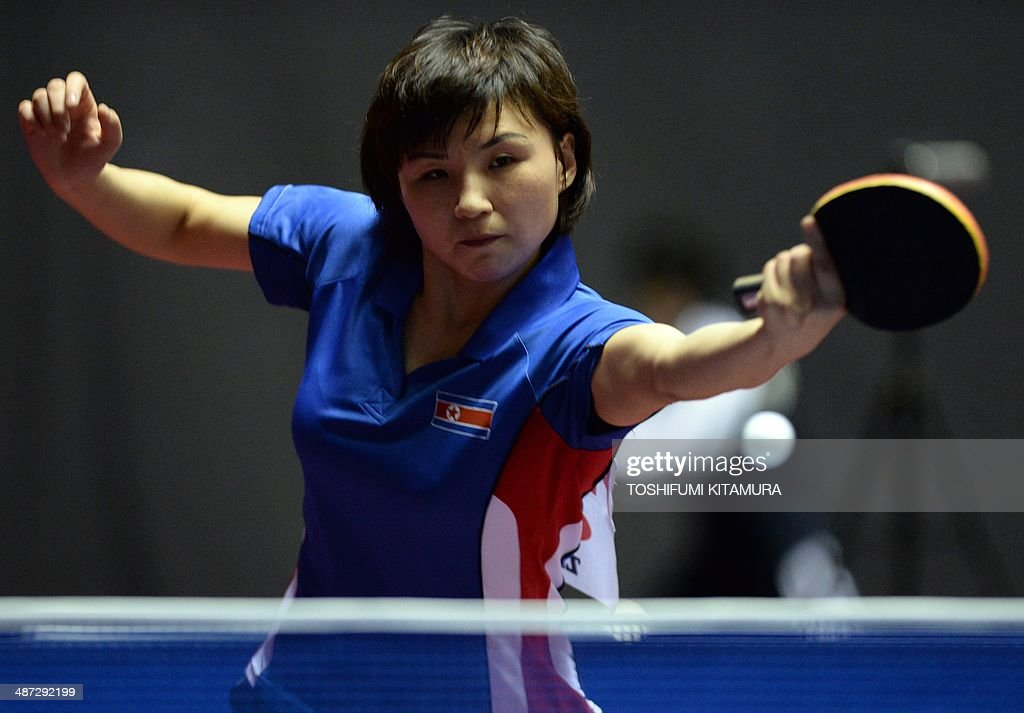 <a gi-track='captionPersonalityLinkClicked' href=/galleries/search?phrase=Kim+Jong+-+Table+Tennis+Player&family=editorial&specificpeople=5499597 ng-click='$event.stopPropagation()'>Kim Jong</a> of North Korea returns the ball towards Natalia Partyka of Poland during their women's singles round three match of the 2014 World Team Table Tennis Championships in Tokyo on April 29, 2014. AFP PHOTO/Toshifumi KITAMURA