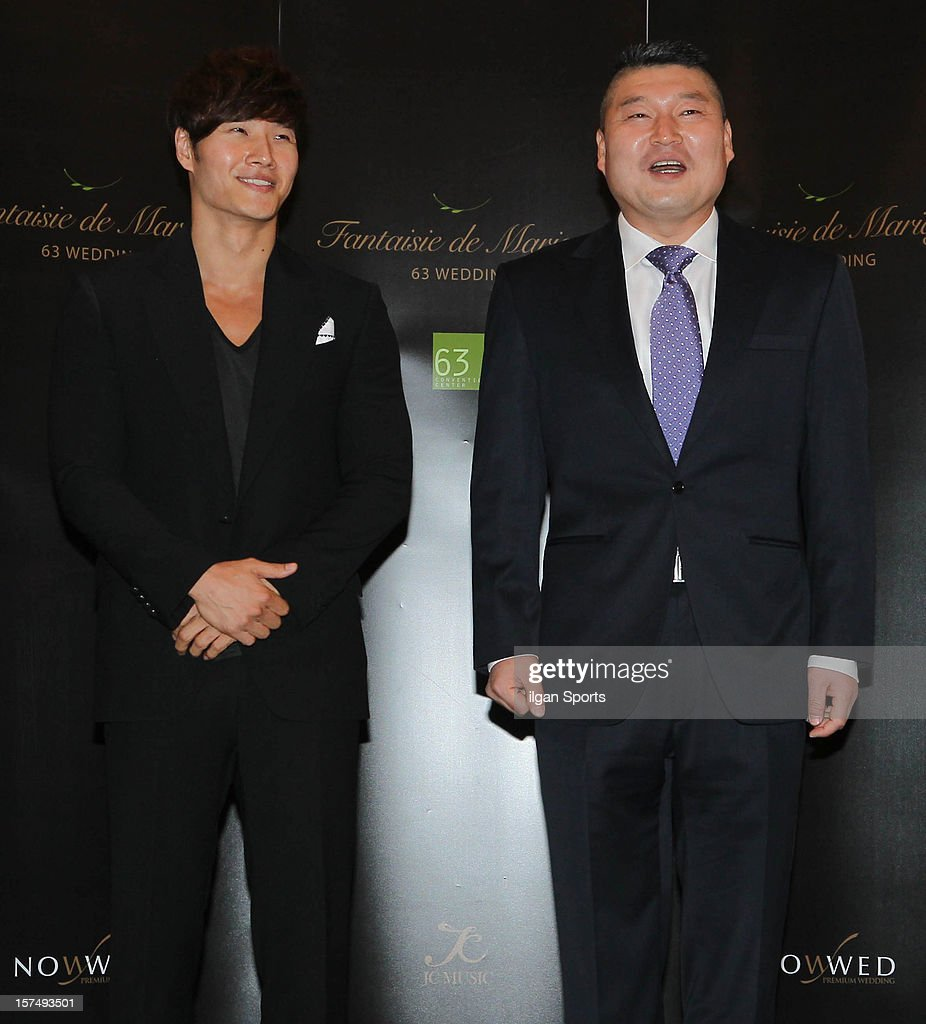 Kim Jong-Kook and Gang Ho-Dong attend HaHa and Byul's wedding at 63 Building convention center on November 30, 2012 in Seoul, South Korea.