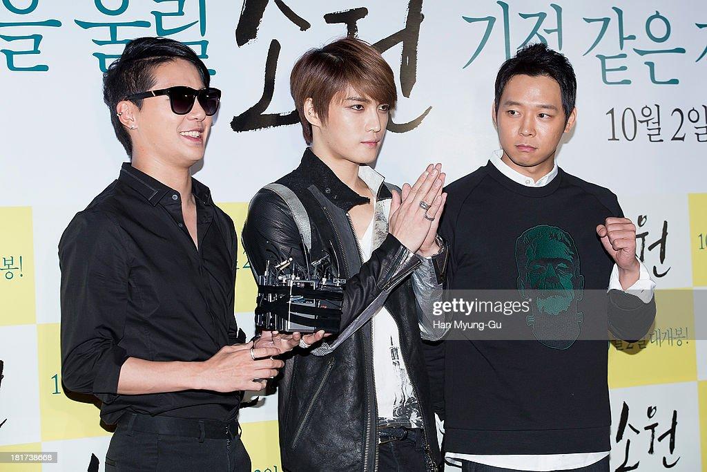 Kim Jun-Su, Kim Jae-Joong and Park Yoo-Chun of South Korean boy band JYJ attend 'Wish' VIP screening at Lotte Cinema on September 23, 2013 in Seoul, South Korea. The film will open on October 02, in South Korea.