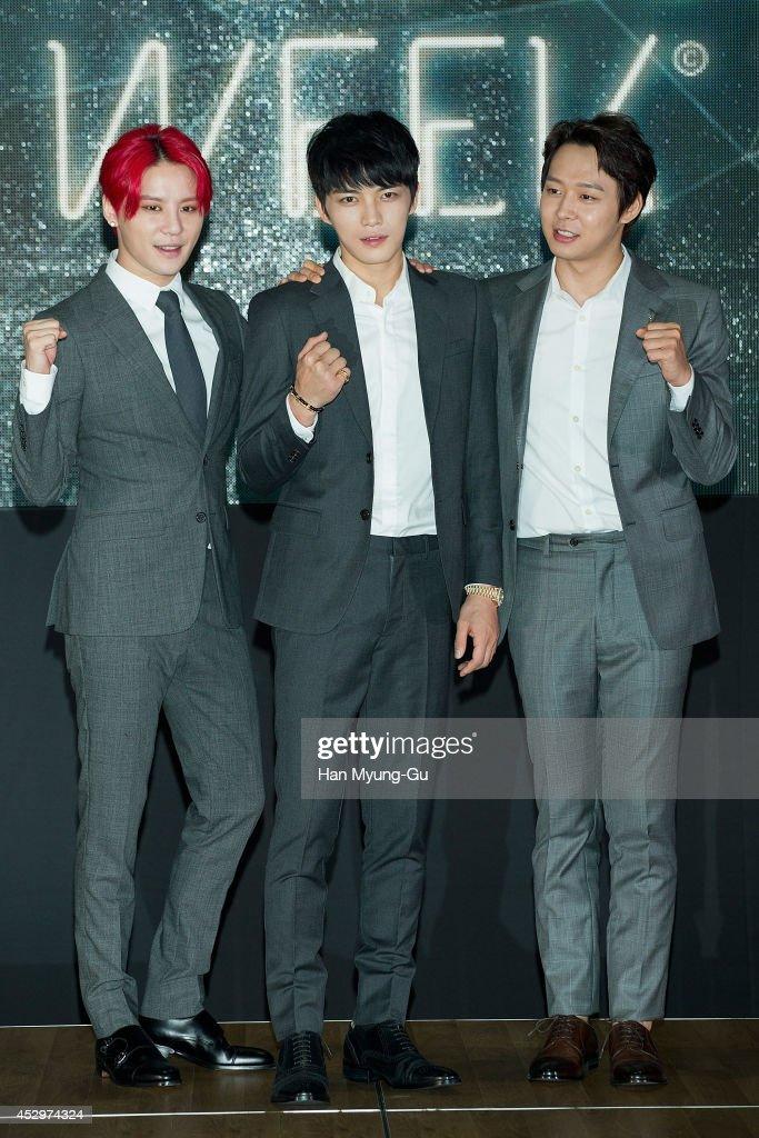 Kim JunSu Kim JaeJoong and Park YooChun of South Korean boy band JYJ attend during the opening ceremony of the 2014 JYJ Membership Week at COEX on...