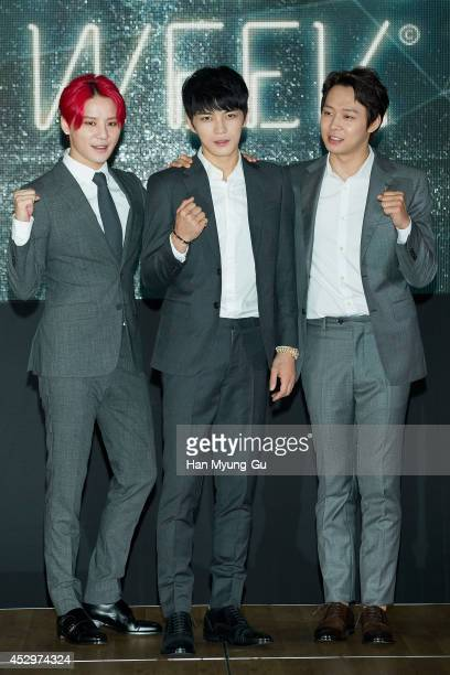 Kim JunSu Kim JaeJoong and Park YooChun of South Korean boy band JYJ attend during the opening ceremony of the 2014 JYJ Membership Week at COEX on...