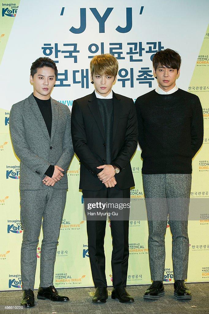Kim JunSu Kim JaeJoong and Park YooChun of South Korean boy band JYJ attend the appointment of JYJ as Goodwill Ambassadors of Visit Medical Korea at...