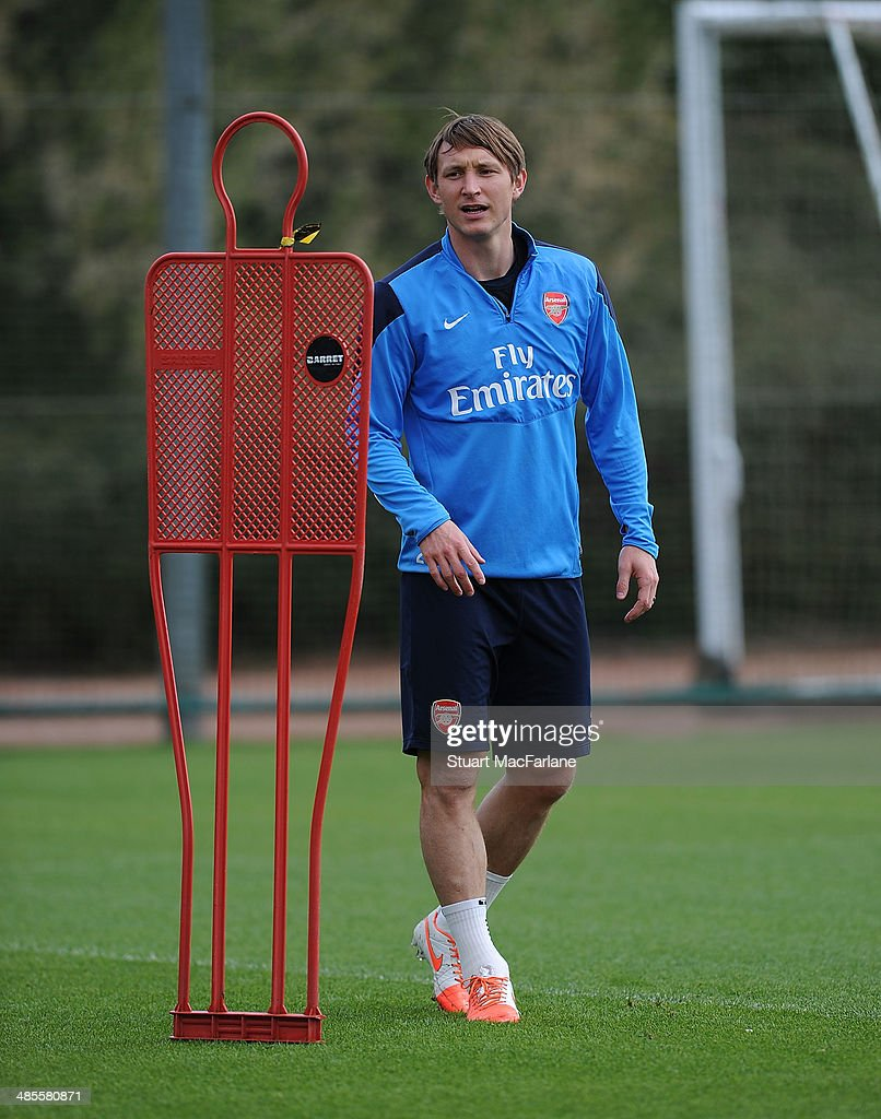Kim Kallstrom of Arsenal during a training session at London Colney on April 19, 2014 in St Albans, England.