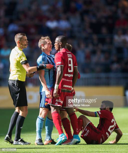 Kim Kallstrom of Djurgardens IF and Alhaji Gero of Ostersunds FK in discussion during the Allsvenskan match between Djurgardens IF and Ostersunds FK...